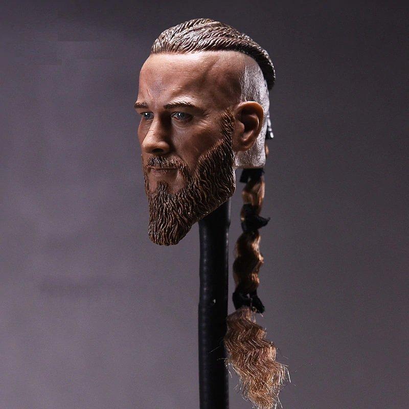 1/6 Travis Fimmel Head Ragnar Lothbrok Vikings Movie Cinema for 1/12 Action Figures Toys Hobby