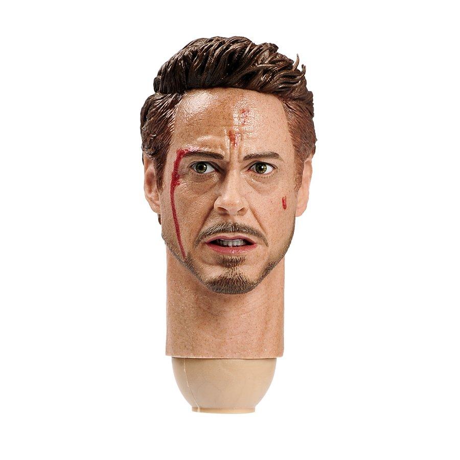 1/6 Tony Stark Damaged Head Iron Man Robert Downey Jr. Marve Super Heroes 1/12 Action Figures Toys