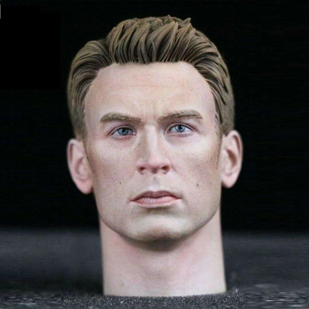 1/6 Chris Evans Head Captain America Avengers Marve Super Heroes 1/12 Action Figures Toys Hobby
