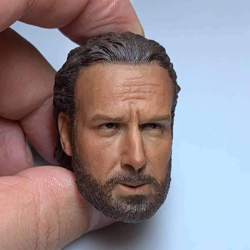 1/6 Rick Grimes Head Sheriff The Walking Dead Andrew Lincoln for 1/12 Action Figures Toys Hobby