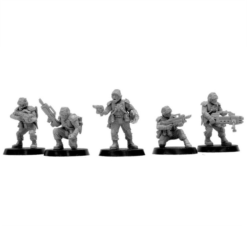 5pcs Elysian Command Squad HQ Astra Militarum Imperial Guard Army Warhammer 40k Forge World Figures