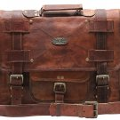 "Unisex 15"" 16"" 18"" Leather Vintage Messenger Shoulder Bag Messenger Bag Laptop"