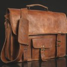 "15"" NEW Vintage Leather Messenger Bag  Laptop Messenger Shoulder Briefcase Bag"