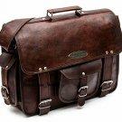 Men's Vintage Natural Leather Satchel Shoulder Bag Messenger Laptop briefcase