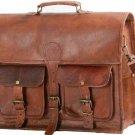 Men Leather Business Handbag Briefcase Laptop Bag Shoulder Work Bag Travel Pack