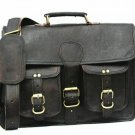 New Black Genuine Leather Vintage Style Cross-Body Satchel Office Briefcase Men