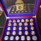27 Pieces New York Yankees Championship Rings With Wooden Display Box For Fans Collection