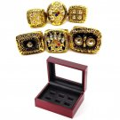 1975 1975 1978 1979 2005 2008 6pcs Pittsburgh Steelers Championship Rings Set-Size 11-With Box