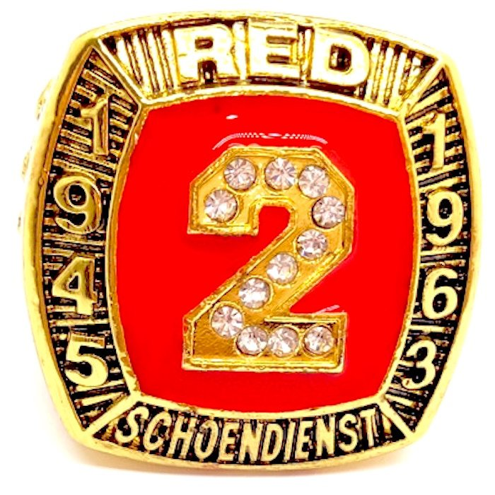 1945 1963 RED SCHOENDIENST 1989 Hall Of Fame Player Ring-Size 11-No Box