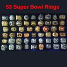 53 Pieces NFL Championship Rings With Wooden Display Box For Fans Collection