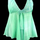 Sparkling Mint Floral Sequins Beaded Applique Babydoll Top - Small