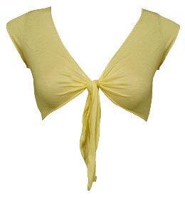 Trendy Yellow Sheer Knit Tie Bolero Shrug - Medium