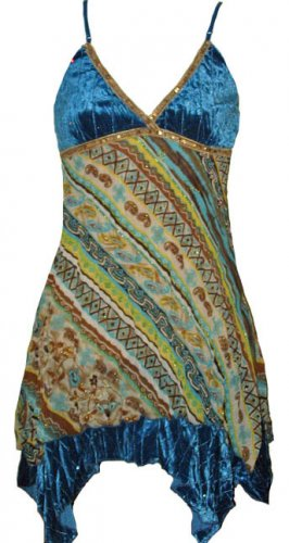 Teal Crushed Velvet Crinkle Chiffon Top - Small