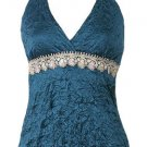 Sexy Gorgeous Teal Satin Crinkle Lace Halter Top - Large