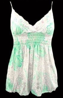 Sexy Dainty White Mint Floral Smocked Babydoll Top - Small