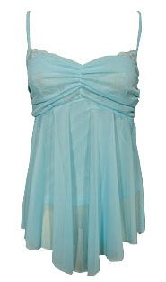 Sweet Girly Blue Mesh & Lace Babydoll Cami Top - Small