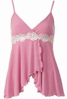 Sexy Pink Floral Lace Trim Babydoll Cami Top - Large