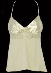 Sweet Flirty Sexy Ivory Satin Stretch Sequins Top - Small