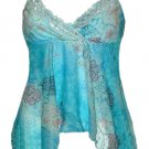 Blue Floral Watercolor Mesh & Lace Babydoll Top - Medium