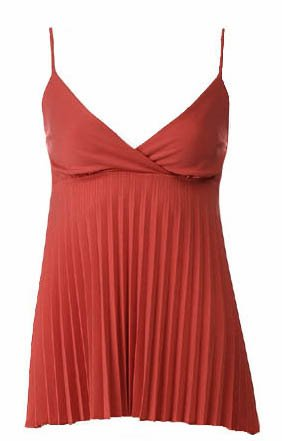 Trendy Sexy Classy Rust Pleated Camisole Babydoll Top - Large