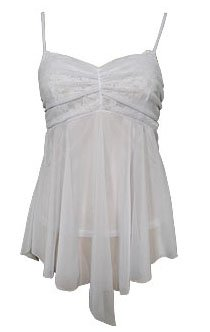 Sweet Girly White Mesh & Lace Babydoll Cami Top - Small