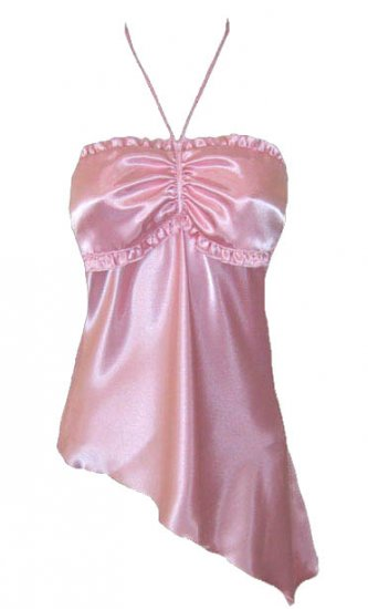 Sweet Pink Ruffle Satin Bandeau Halter Top - Small