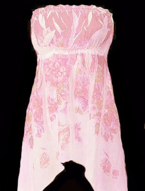 Dreamy Sexy Soft Pink Floral Chiffon Strapless Top - Small