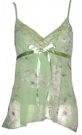 Romantic Dreamy Sexy Sage Floral Chiffon Babydoll Top - Medium