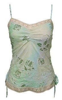 Sweet Sage Floral Watercolor Crochet Cami Top - Medium