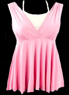 Unique Sexy Pink White Faux Halter Babydoll Tank Top - Small