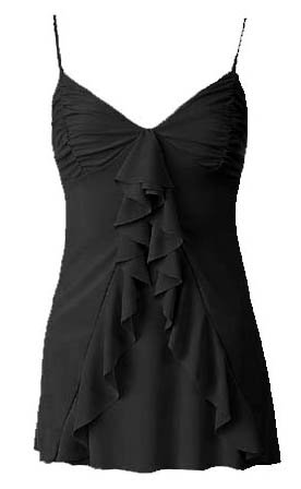 Flirty Sexy Black Ruched Ruffle Babydoll Cami Top - Small