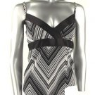 Sexy Black & White Geometric Design Camisole Top - Small