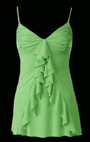 Flirty Sexy Lime Ruched Ruffle Babydoll Cami Top - Medium