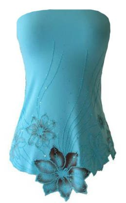 Sexy Exotic BlueLaser Cut Beaded Floral Tube Top - Small