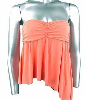 Flirty Sexy Peach Ruched Strapless Babydoll Top - Large