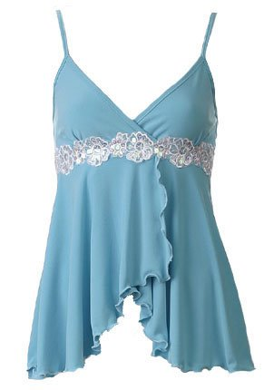 Sexy Blue Floral Lace Trim Babydoll Cam Top - Large