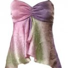 Sexy Pink Tie-Dye Crinkle Satin Babydoll Cami Top - Small