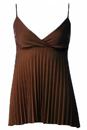 Trendy Sexy Classy Brown Pleated Camisole Babydoll Top - Large