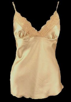 So Sexy Chic Gold Satin Lace Trim Camisole Top - Medium