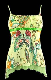 Colorful Lime Butterfly Chiffon Babydoll Camisole Top - Large