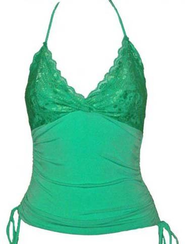 Sexy Luscious Green Lace Ruched Halter Top - Medium