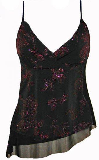 Sexy Vixen Black Fuschia Floral Sparkling Glitter Top - Medium