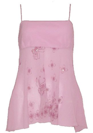 Sexy Pink Crepe Chiffon Butterfly Babydoll Top - Small