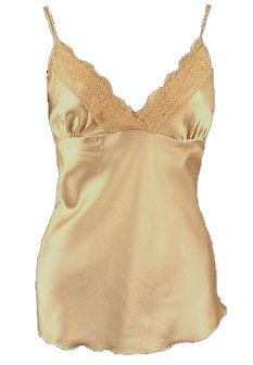 So Sexy Chic Gold Satin Lace Trim Camisole Top - Small