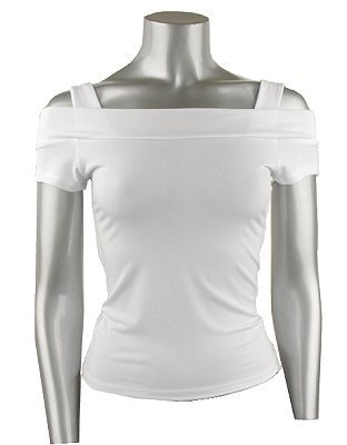 Classy & Sexy White Shoulder Baring Stretch Knit Top - Large