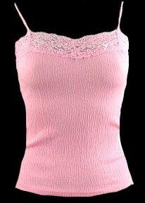 Sexy Pink Stretch Popcorn Gauze Lace Trim Camisole Top - Small