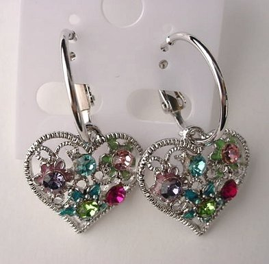Pretty Multicolor Crystal Heart Hoop Pierced Earrings