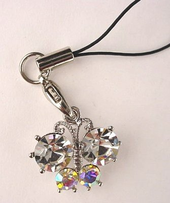 Trendy Clear Crystal Butterfly Cell Phone Charm