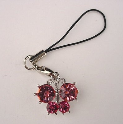 Trendy Pink Crystal Butterfly Cell Phone Charm