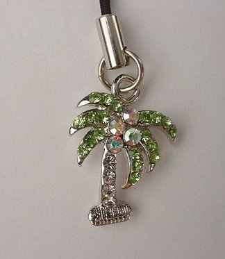 Trendy Crystal Tropical Palm Tree Cell Phone Charm